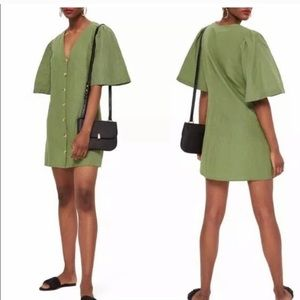 Topshop linen button down dress in army green